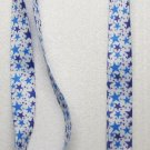 White with 2 Blue Color STARS LANYARD KEY CHAIN Ring Keychain ID Holder NEW