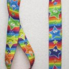 Rainbow with Multi Color STARS LANYARD KEY CHAIN Ring Keychain ID Holder NEW