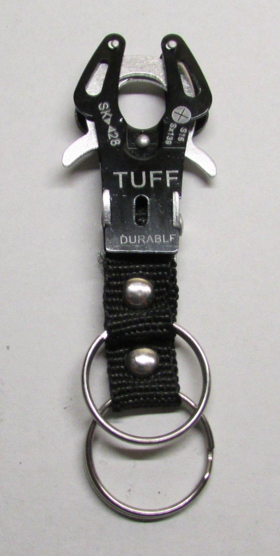 TUFF BLACK Carabiner Camping Hiking Aluminu Outdoor KEY CHAIN Ring Keychain NEW