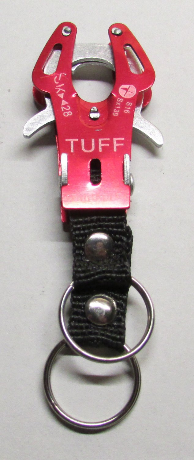 TUFF RED Carabiner Camping Hiking Aluminu Outdoor KEY CHAIN Ring Keychain NEW