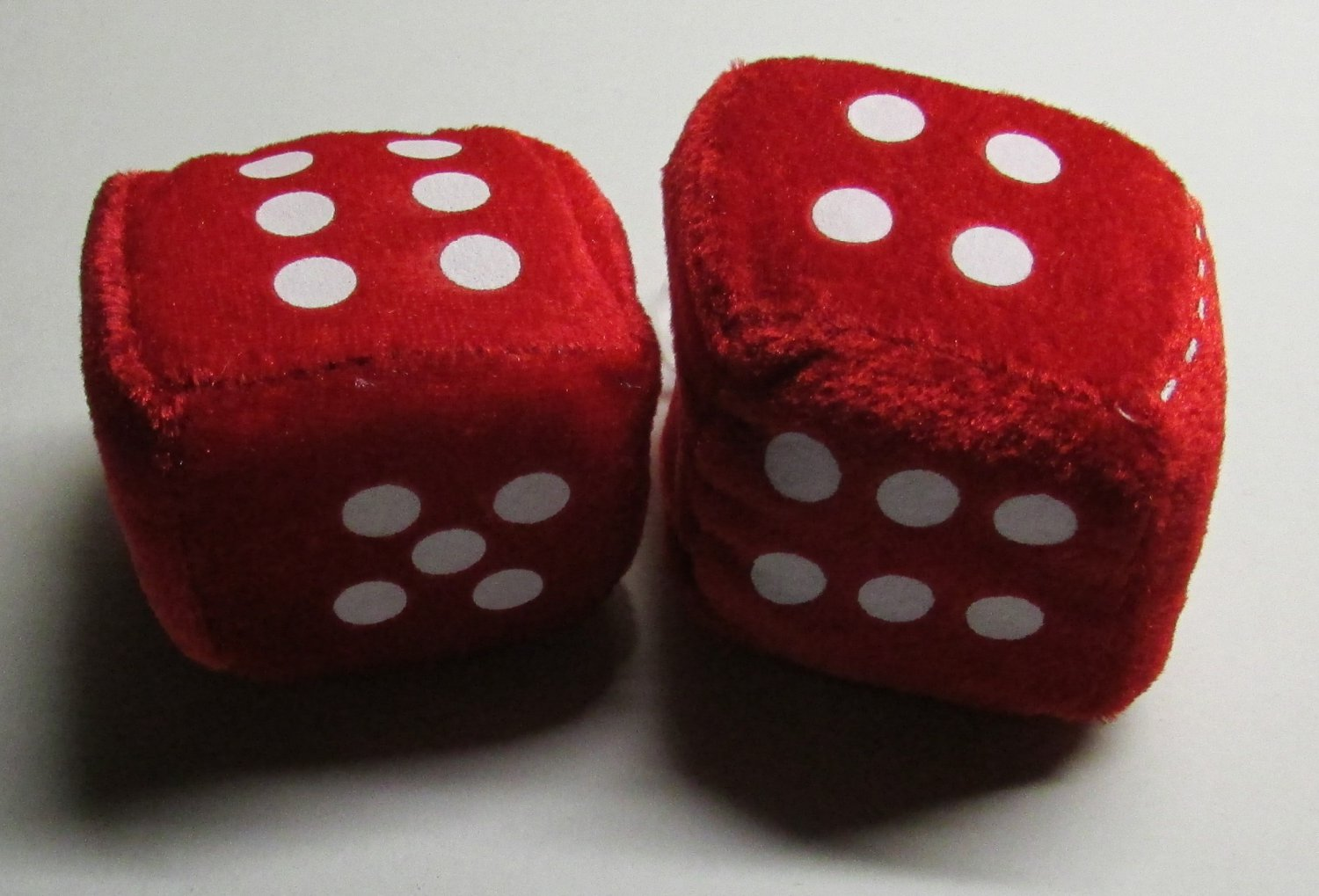 Fuzzy Red DICE w White Dots 2 1/2 inch Hanging DICE Auto Rearview Car Mirror NEW