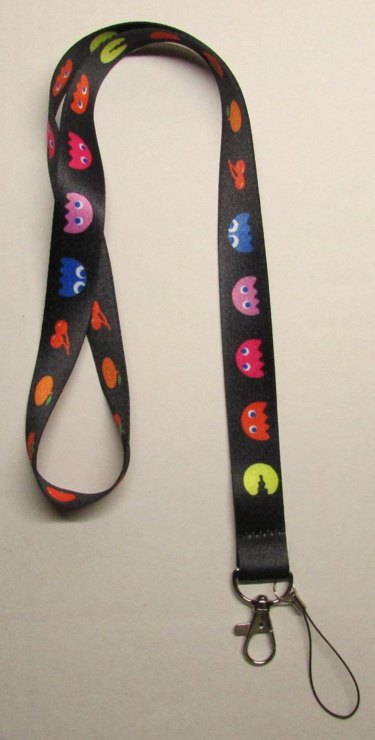 PACMAN Classic LANYARD KEY CHAIN Ring Keychain ID Holder NEW