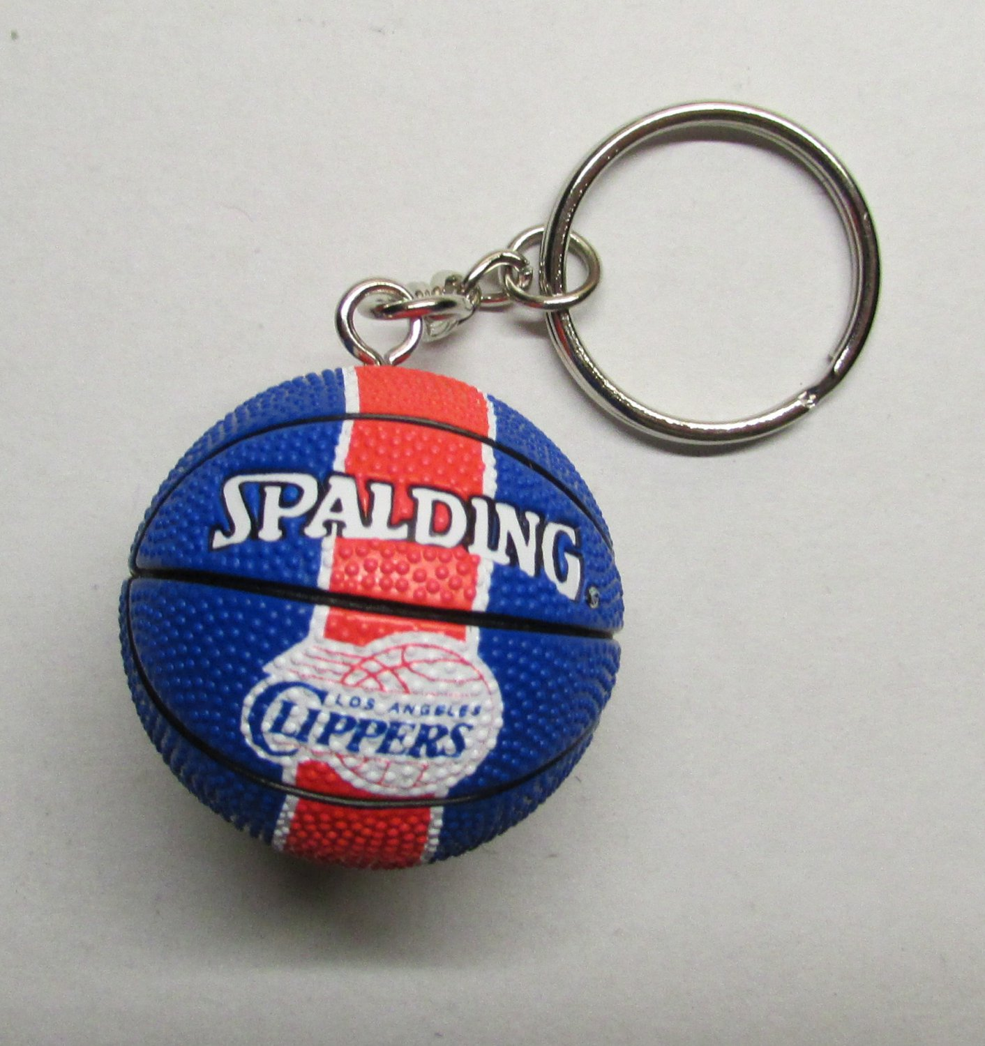 NBA Basketball Los Angeles CLIPPERS Spalding Ball KEY CHAIN Ring Keychain NEW