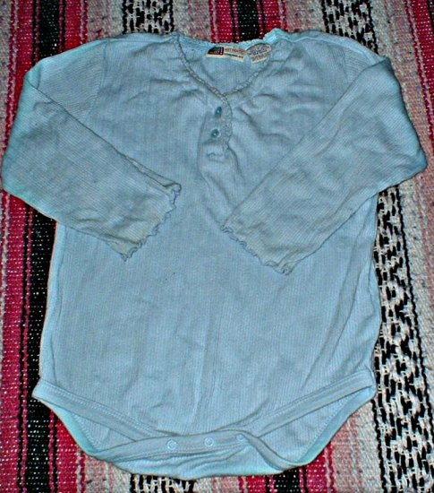 Faded Glory 24mth Blue Bodysuit with lettuce edge hems