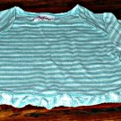 Girls Long Sleeve Green Striped Ruffle Hem Shirt 18 mth