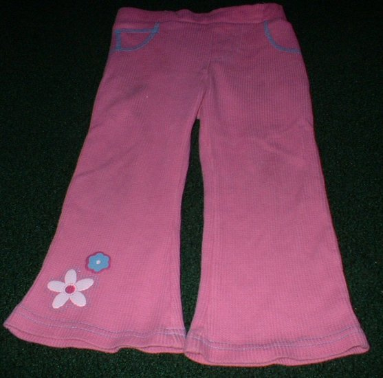 Pink Wide Leg Flared Pants with Glitter Flowers 3T