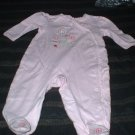 9 Mth Pink Embroidered Footed Pajamas