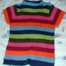 Girls 6xl Multicolored Striped Ribbed Sweater