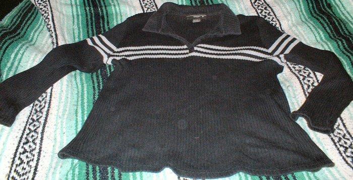 Womens Black Rib Knit Collared Sweater 22 24