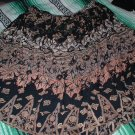 Womens Black Skirt with Autumn Leaves Design Sz Large