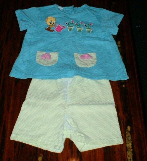 Girls 24 Mth Looney Tunes Shorts Set Tweety Bird
