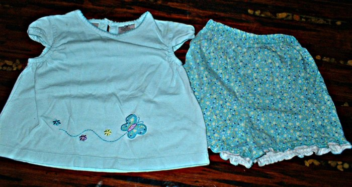 Girls 24 Mth 2 Piece Butterfly Shorts Set