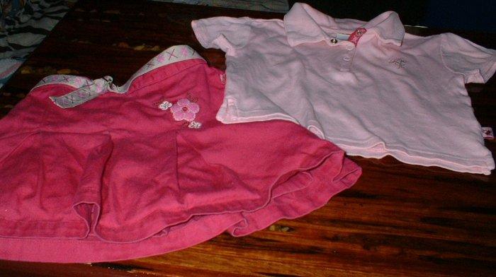 Girls 2T Pink Tennis Skirt and Polo Shirt Set