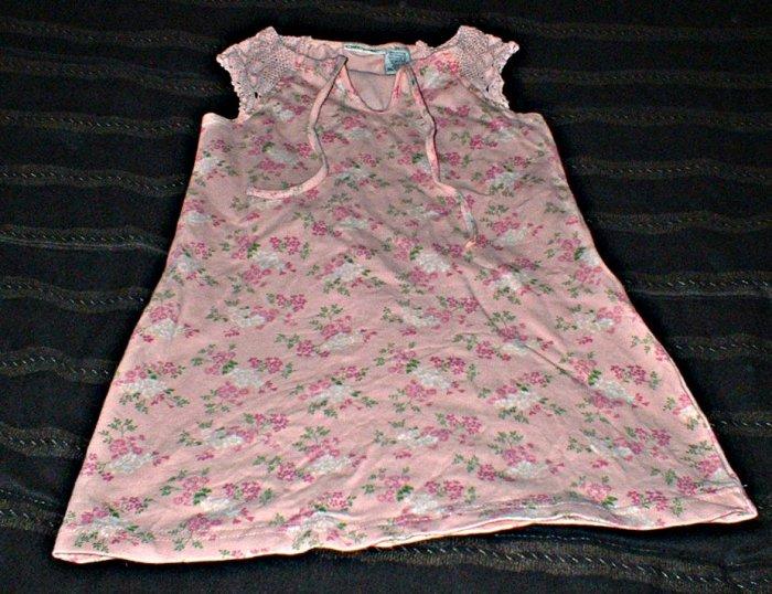 Girls 3T Peach Sleeveless Dress with Crochet Sleeve Detail