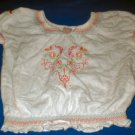 Girls White Embroidered Peasant Blouse 4T