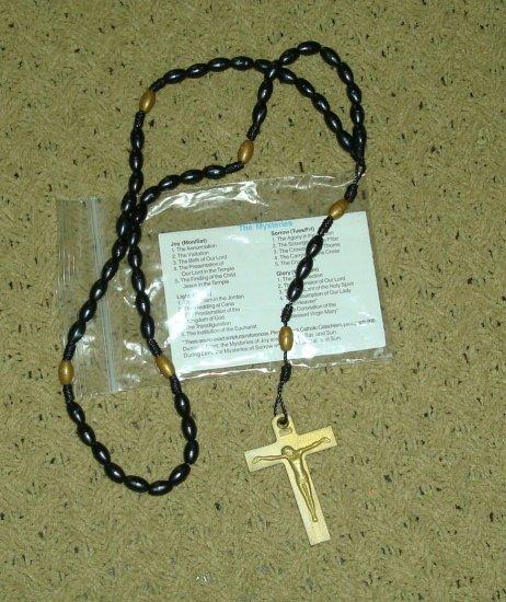 NIP Black and Gold Rosary Free Shipping