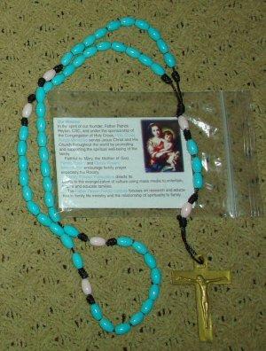 NIP Blue White Black & Gold Rosary Free Shipping