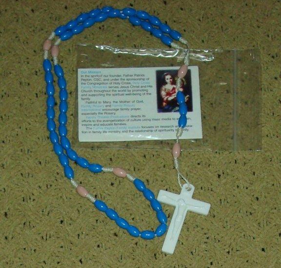 NIP Blue & Dusty Rose Rosary Free Shipping
