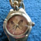 Ladies Girls Silver Watch Butterfly Face