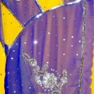 Designer Yellow/Blue Color Combo Silver Sequin Work