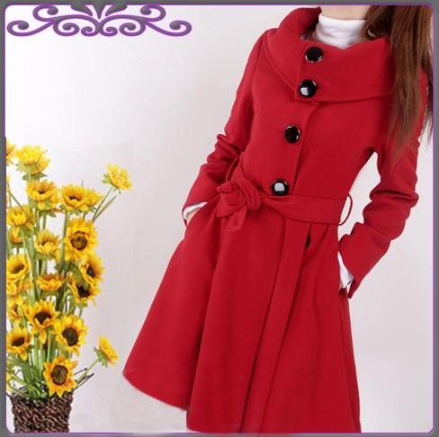 Korean Fashion Wholesale [E2�1094] Coat - Red - Size L