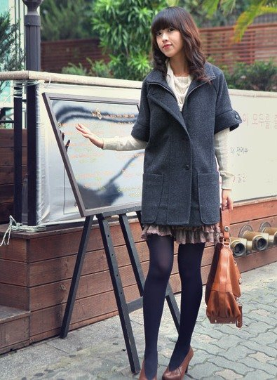 Korean Fashion Wholesale [B2-6220] Coat - Gray - Size L
