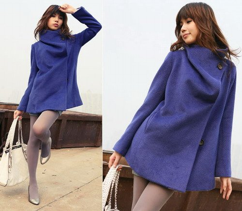 Korean Fashion Wholesale [E2-1091] Coat - Blue - Size S