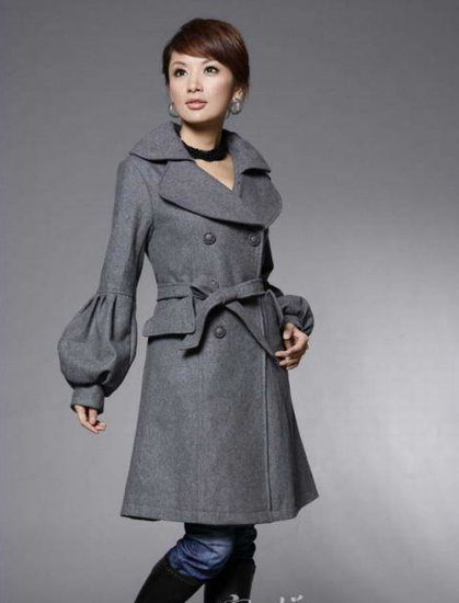 Korean Fashion Wholesale [E2-1075] Coat - Gray - Size M
