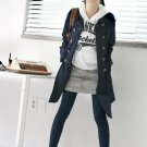 Korean Fashion Wholesale [B2-6164] Classic long trench French peacoat Coat - Navy - Size L