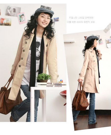 Korean Fashion Wholesale [B2-6164] Classic long trench French peacoat Coat - Beige cream - Size L