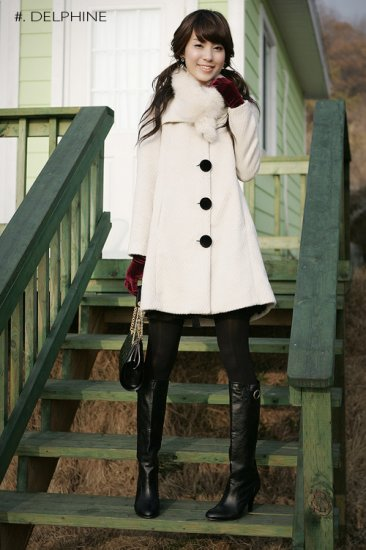 Korean Fashion Wholesale Classic winter princess warm thick Wool long Coat - ivory White - Size M
