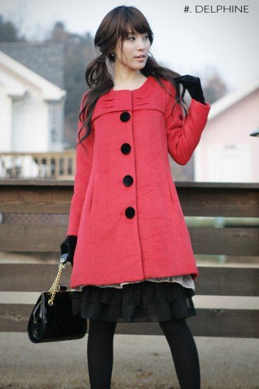 Korean Fashion [C2-8010] Classic winter princess warm thick Wool long Coat - Red - Size M