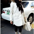 Korean Fashion Wholesale [B2-6176] Thick padded long hooded fur trench Winter Coat - White - Size L