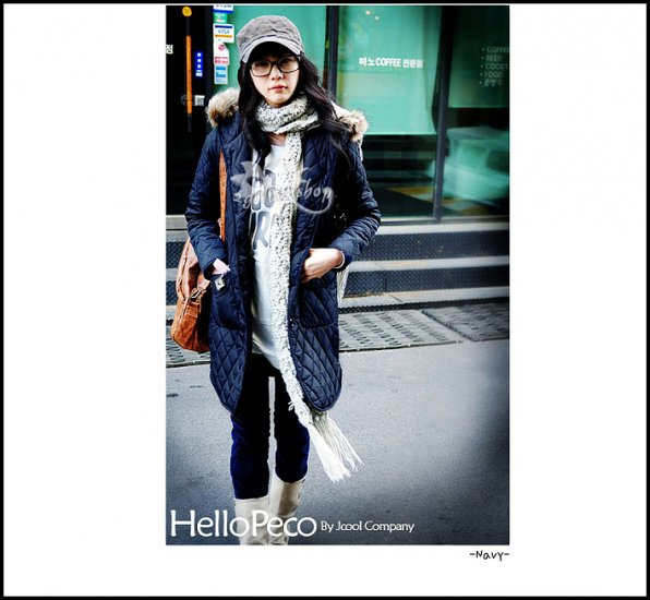 Korean Fashion Wholesale [B2-6176] Thick padded long hooded fur trench Winter Coat - Navy - Size M