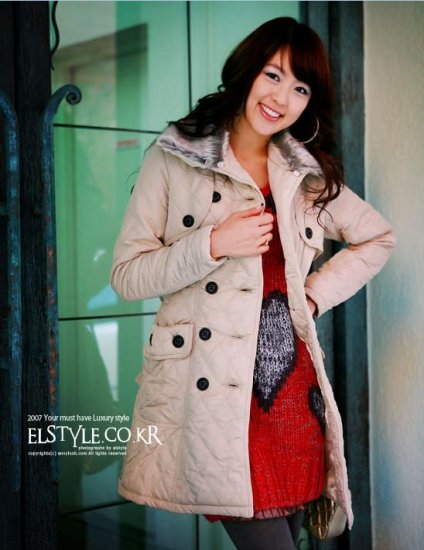 Korean Fashion Wholesale [C2-8009] Classic long Trench button up padded thick Coat - Beige - Size M
