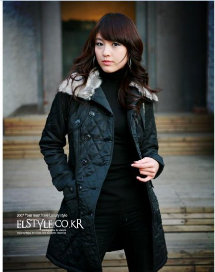 Korean Fashion Wholesale [C2-8009] Classic long Trench button up thick padded Coat - Black - Size L