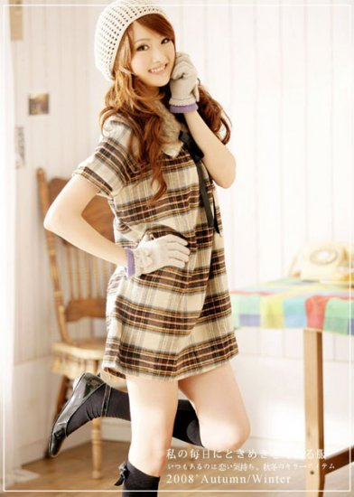 Korean Fashion Wholesale [C2-371] Flannel warm cozy sweater knit checked Dress - yellow plaid