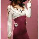 Korean Fashion Wholesale [C2-367] Office work Lady flannel Knit Sweater Dress - Red wine