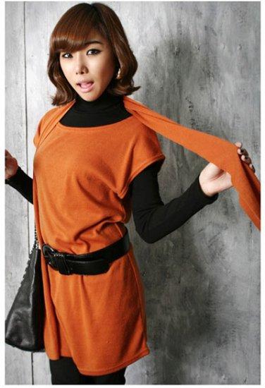 Korean Fashion Wholesale [C2-364] sleeveless little knit tank tunic Dress + scarf set  - Orange