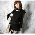 Korean Fashion Wholesale [C2-364] sleeveless little knit tank tunic Dress + scarf set - Black