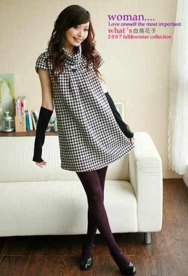 Korean Fashion Wholesale [E2-1078] turtle neck warm Fannel plaid checkered Dress - Black