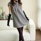 Korean Fashion Wholesale [E2-1078] turtle neck warm Fannel plaid checkered Dress - Black