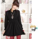 Korean Fashion Wholesale [C2-6093] high neck long sleeve Knit Tunic blouse Dress - Black
