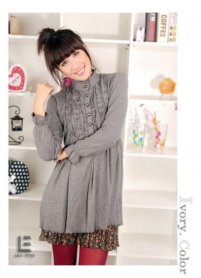 Korean Fashion Wholesale [C2-6093] high neck long sleeve Knit Tunic blouse Dress - Gray