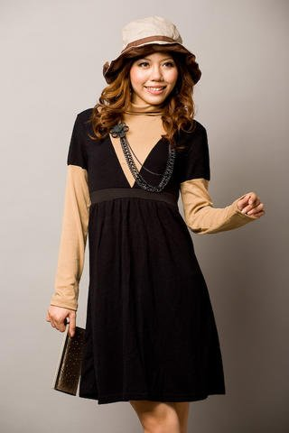 Korean Fashion Wholesale [D2-408] V neck sweater knit long sleeve Layered Dress Set - Black