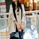 Korean Fashion Wholesale [C2-2072] Sweater Long top baggy Tunic Dress - Beige