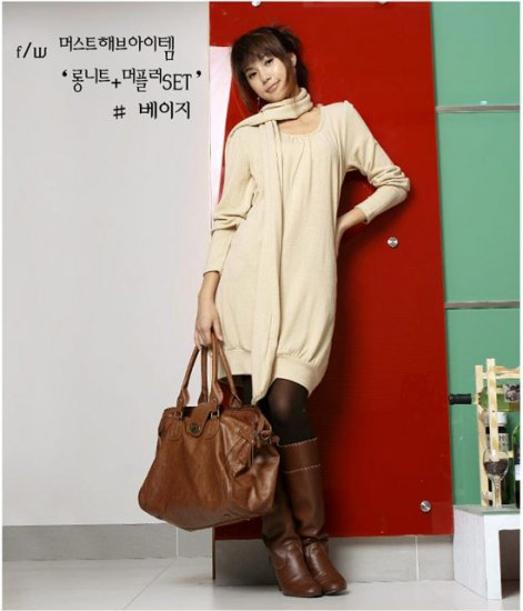Korean Fashion Wholesale [C2-2092] wool warm comfy long sleeve sweater Tunic dress + Scarf - beige