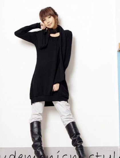 Korean Fashion Wholesale [C2-2092] Wool warm Long sleeve sweater tunic dress + Scarf Set- black