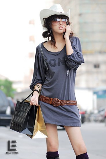 Korean Fashion Wholesale [C2- 6076] Graphic print Sequined Tunic Dress - dark Gray