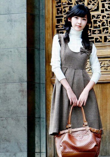 Korean Fashion Wholesale [B2-2013] Country Vintage Dainty Flannel Warm Dress + Top - Brown